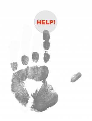 Image: Handprint pushing a Help button.